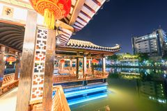 Gallery bridge-Ruzi Pavilion Park night. Kiosks in the city of Nanchang province Xihu District in Jiangxi, West Lake, named for the memorial of the Eastern Han Royalty Free Stock Photography
