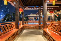 Gallery bridge-Ruzi Pavilion Park night. Kiosks in the city of Nanchang province Xihu District in Jiangxi, West Lake, named for the memorial of the Eastern Han Royalty Free Stock Image