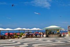 Kiosks on the Copacabana beach Stock Photos