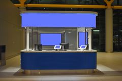 Kiosks. screens cleared. for any advertising or message. mockup royalty free stock photos