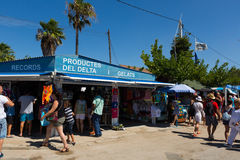 Kiosks with souvenirs at delta of Ebro river Stock Photo