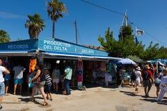 Kiosks with souvenirs at delta of Ebro river Stock Photo