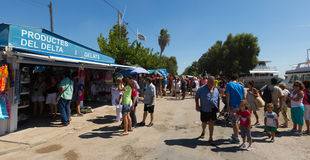 Kiosks and tourist boats at delta of Ebro river Royalty Free Stock Photo