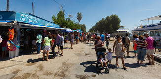 Kiosks and tourist boats at delta of Ebro Stock Images