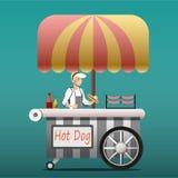 Kiosque urbain à vendre des hot dogs Photos stock