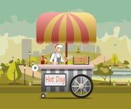Kiosque urbain à vendre des hot dogs Photographie stock libre de droits