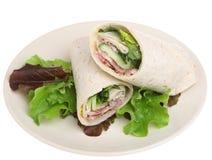 Kip Caesar Wrap Sandwich Isolated Stock Foto's
