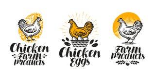 Kip, de reeks van het kippenetiket Gevogeltelandbouwbedrijf, ei, vlees, grill, jonge kippictogram of embleem Met de hand geschrev vector illustratie