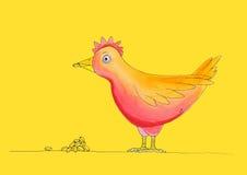 Kip die maaltijd hebben, childs tekening, waterverfpa Stock Afbeeldingen
