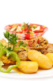 Kip en aardappels Royalty-vrije Stock Afbeelding