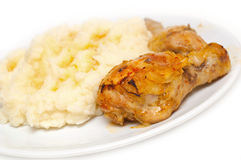 Kip en fijngestampte aardappels Stock Afbeelding