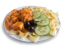 Kip en macaroni Stock Foto's