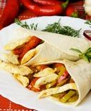 Kip en plantaardige tacoshells Royalty-vrije Stock Foto