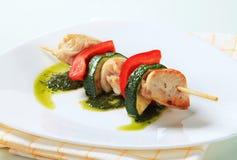 Kip en plantaardige vleespen Royalty-vrije Stock Foto's