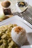 Kip en rijst in kerriekruid Royalty-vrije Stock Foto