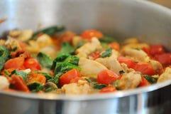 Kip en veggies saus stock fotografie