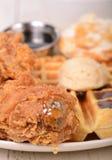 Kip en wafels Royalty-vrije Stock Foto