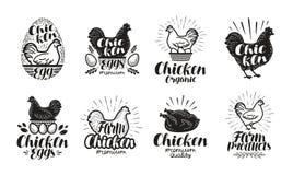 Kip, het etiketreeks van het gevogeltelandbouwbedrijf Voedsel, vlees, eipictogrammen of emblemen Van letters voorziende Vectorill vector illustratie