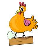 Kip met de illustratie van het eierenbeeldverhaal Stock Fotografie