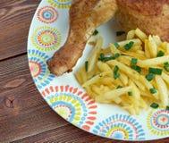 Kip met frieten Stock Image