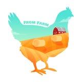 Kip met landbouwbedrijf binnen achtergrond Concept verse producten vector illustratie