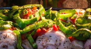 Kip met tomaat en peper in de oven royalty-vrije stock afbeeldingen