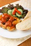 Kip met tomaten Royalty-vrije Stock Fotografie