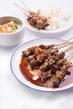 Kip satay met heerlijke die pindasaus met witte rijst en groenten wordt gediend Royalty-vrije Stock Foto