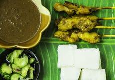 Kip satay met kubieke rijst Royalty-vrije Stock Foto