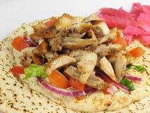 Kip Tarna met Hummus Stock Foto's