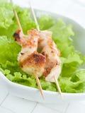 Kip (of varkensvlees) op een grillspit Stock Foto