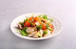 Kip, wortel, rooster en tomatensalade stock foto's