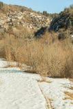 Kipi village in Zagori Ioannina Greece snow winter season Royalty Free Stock Photos