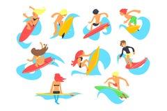 Kipiel charakterów z surfboard jazdy fala ludzie ustawiają, kreskówek wektorowe ilustracje na białym tle royalty ilustracja