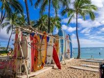 Kipiel wynajem sklep na Waikiki plaży obrazy stock
