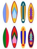 Kipieli desek projekty Wektorowy surfboard kolorystyki set Realistyczny surfboard dla krańcowego dopłynięcia, ilustracyjny ustawi ilustracja wektor