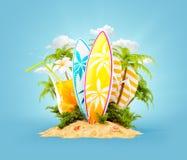 Kipieli deski na raj wyspie royalty ilustracja