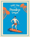 Kipieli odznaka, fala i ocean, retro tło rocznik zwrotniki i California mężczyzna na surfboard, lato na plaży ilustracji