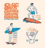 Kipieli odznaka, fala i ocean, retro tło rocznik zwrotniki i California mężczyzna na surfboard, lato na plaży ilustracja wektor