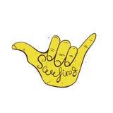 Kipieli ręki znak Zrozumienie surfingowów luźny gest Zdjęcia Stock
