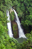 Kipot Twin Waterfall in Tropical Philippine Jungle Royalty Free Stock Images