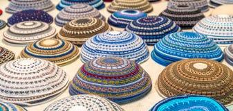 Kippah collection. Big variety of kippah at juwish market Stock Photography