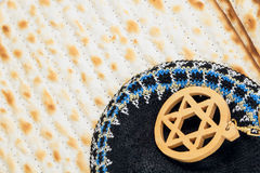 Kippah. A traditional Jewish male headdress Magendavid the background matzah Royalty Free Stock Photo