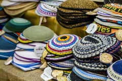 Kippah - traditional Jewish religious headwear. Multicolored knitted kippahs on the market in the Old City of Jerusalem, Israel Royalty Free Stock Image