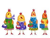 Kippen. De karakters van het beeldverhaal Royalty-vrije Stock Foto's