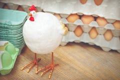 kippen en eieren stock foto's