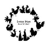 Kippen en hanen in kippenhok, schets voor uw ontwerp Royalty-vrije Stock Foto