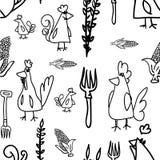 Kippen en kippen Naadloos Patroon Royalty-vrije Stock Afbeelding