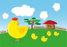 Kippen en kuikens Stock Afbeeldingen