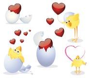 Kippen en Valentijnskaart vector illustratie